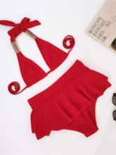 Lace-Up Plain Sexy Bikini Set