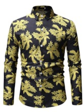 Casual Lapel Print Floral Slim Men's Shirt
