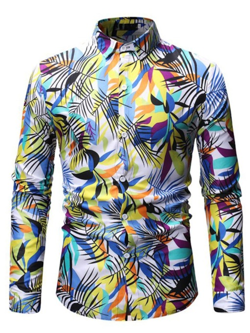 Casual Print Lapel Slim Men's Shirt
