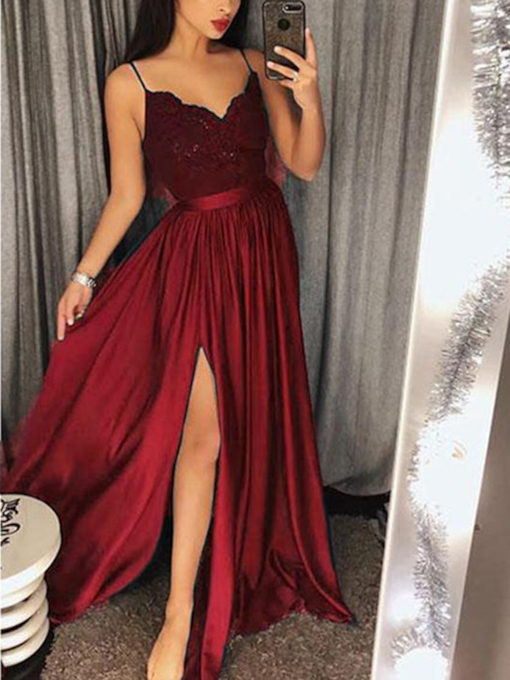 Appliques Floor-Length Sleeveless A-Line Evening Dress