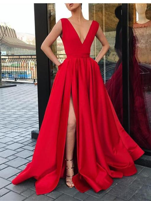 Split-Front V-Neck Pockets Evening Dress 2019