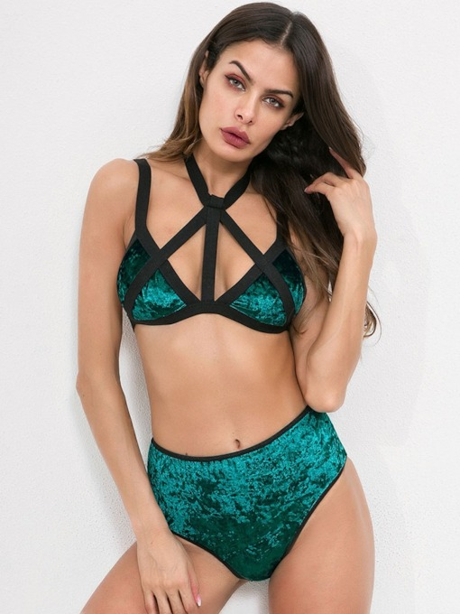 Sequins Three-Point Color Block Bra Set