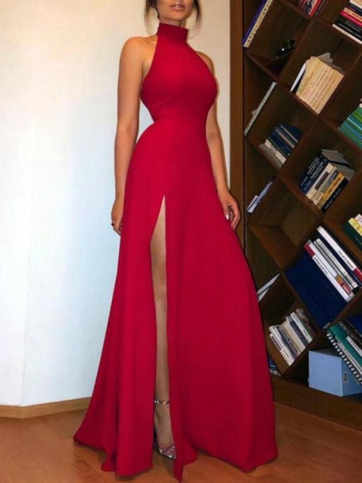 Split-Front Halter Sheath Red Evening Dress 2019