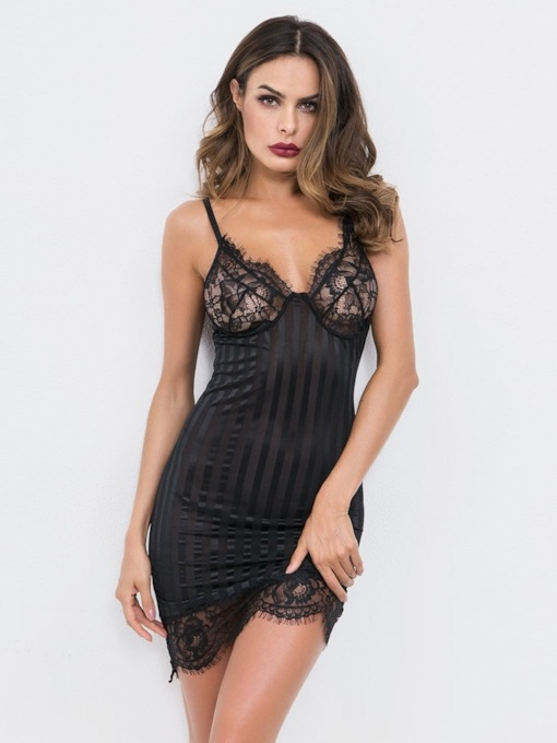 See-Through Spaghetti Strap Plain Tight Wrap Chemise