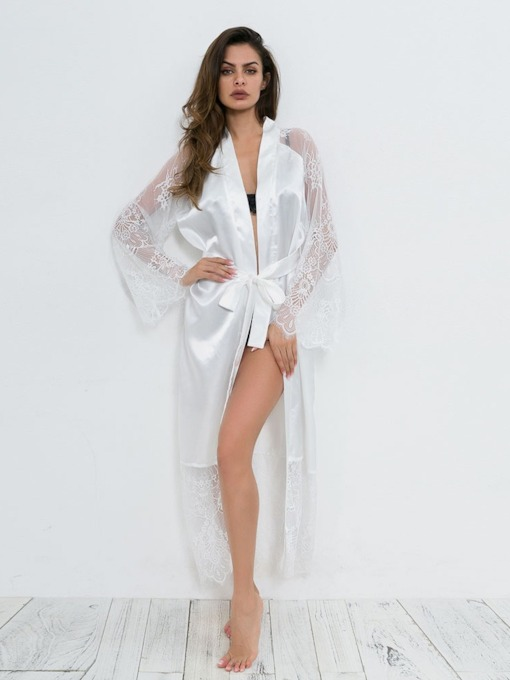 Cardigan Plain Lace Long Sleeve Robe