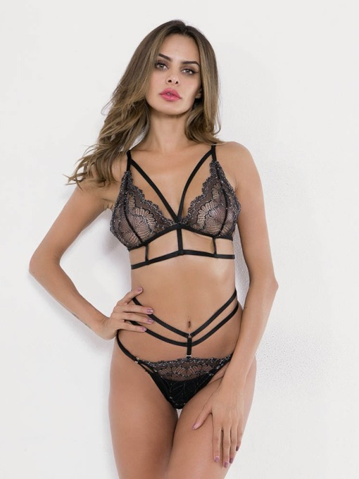 Lace Plain Three-Point Polyester Sexy Bra Set