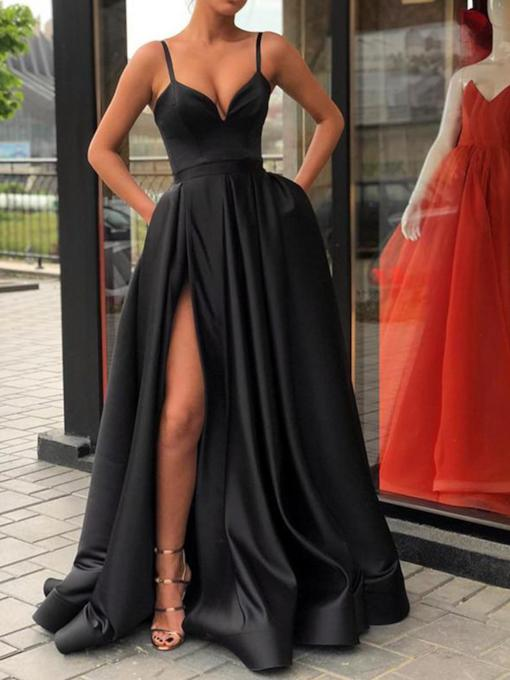 Spaghetti Straps Pockets Split-Front Black Evening Dress