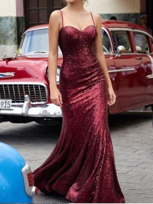 Trumpet Spaghetti Straps Sequins Floor-Length Formal Dress