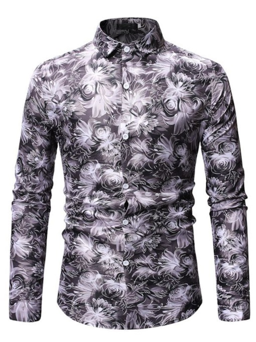 Casual Lapel Floral Print Slim Men's Shirt