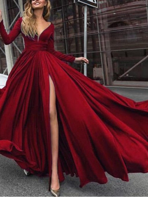 Floor-Length Long Sleeves A-Line V-Neck Prom Dress