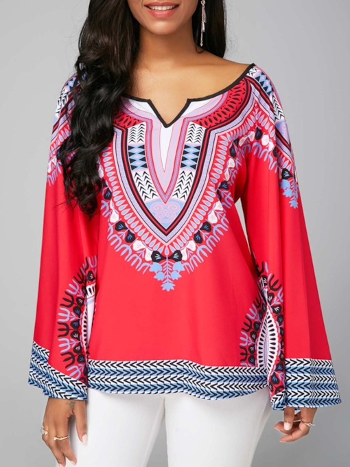 Flare Sleeve Color Block African Print Women's Blouse
