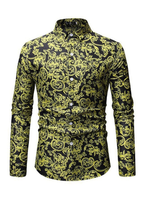 Lapel Floral Casual Print Single-Breasted Men's Shirt