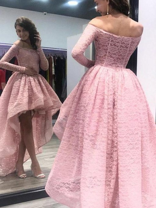 High Low Off the Shoulder Long Sleeves Lace Prom Dress