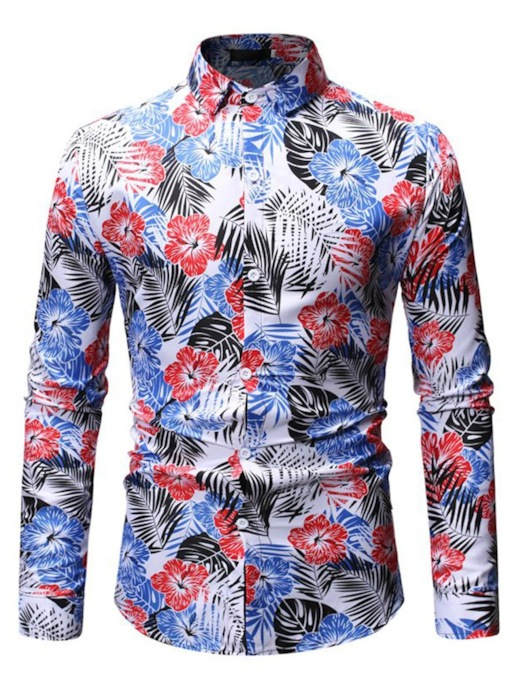 Slim Floral Print Lapel Casual Men's Shirt