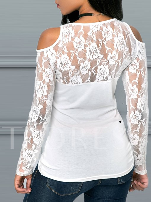 Cold Shoulder Lace Patchwork See-Through Women's T-Shirt