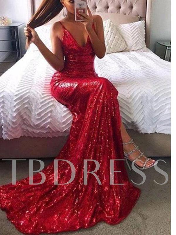 Spaghetti Straps Split-Front Red Sequins Evening Dress