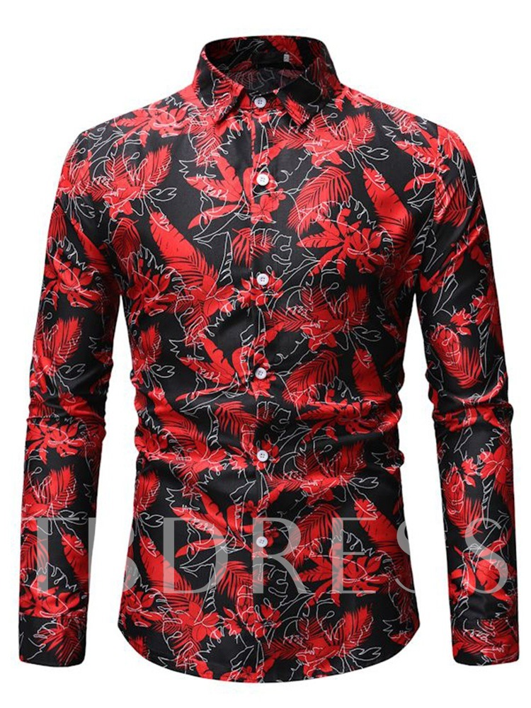 Casual Floral Lapel Print Slim Men's Shirt
