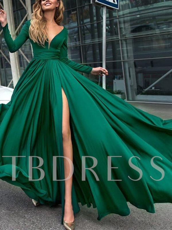 Split-Front Long Sleeves Evening Dress 2019