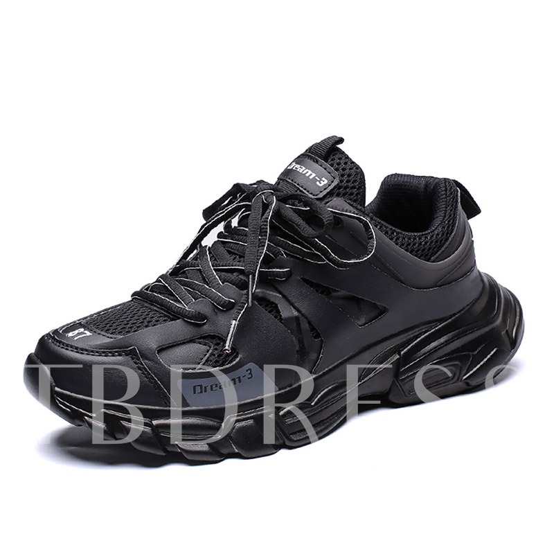 Lace-Up Low-Cut Upper Round Toe Patchwork Men's Sneakers