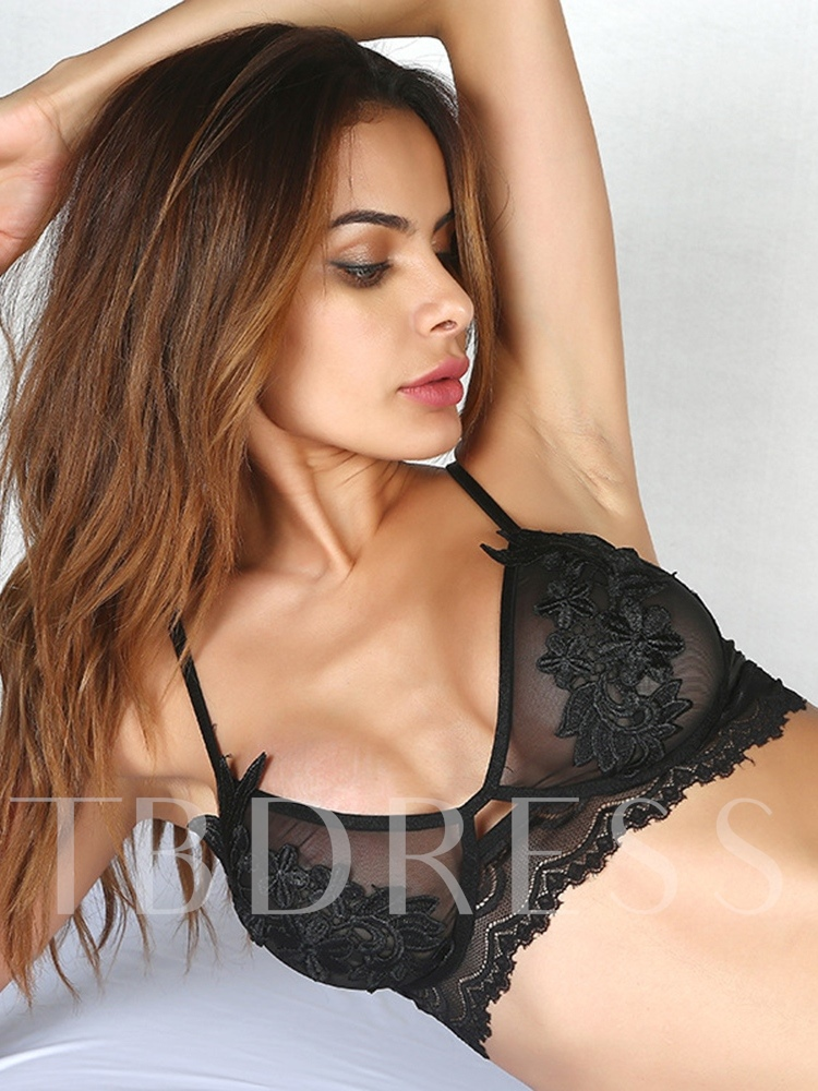 Embroidery Plain Three-Point Sexy Bra Set