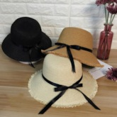Bowknot Embellished Straw Plaited Article Sun Hat