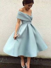 Cap Sleeves Off-The-Shoulder Tea-Length Prom Dress