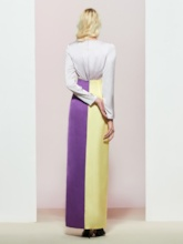 Split-Front Floor-Length V-Neck Long Sleeves Evening Dress
