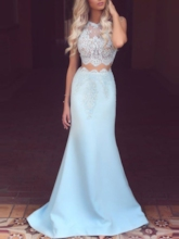 Jewel Floor-Length Lace Trumpet Evening Dress