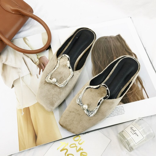 Suede Slip-On Closed Toe Block Heel Womne's Mules