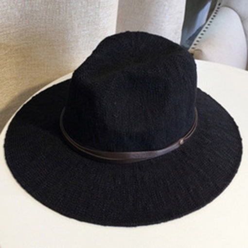 PU Strap Decorated Sunscreen Cotton Fedora Hat