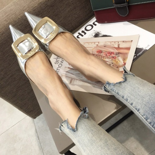 Slip-On Closed Toe Stiletto Heel Metallic Women's Slippers
