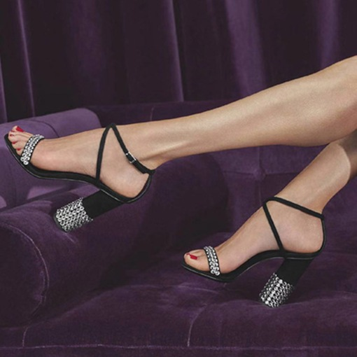 Chunky Heel Open Toe Strappy Buckle Casual Sandals