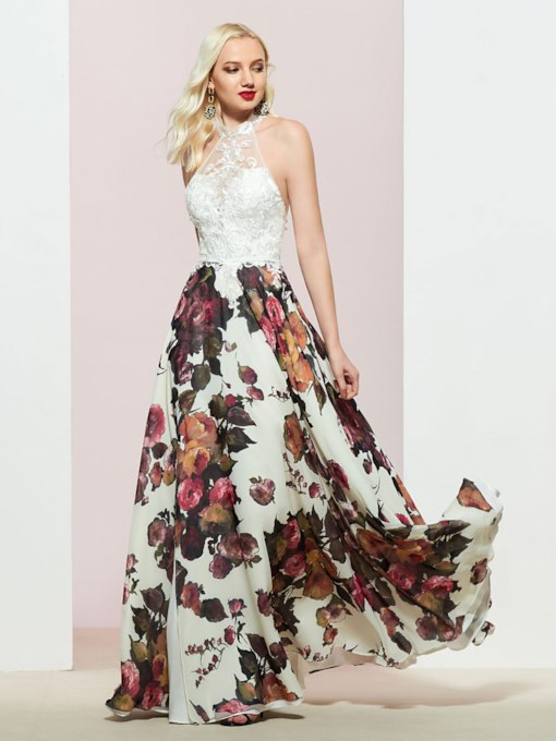 Sleeveless A-Line Halter Floor-Length Prom Dress