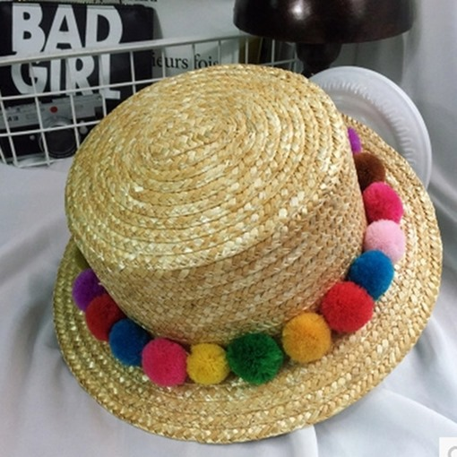 Plain Pompon Straw Hat Korean Summer Sun Hats 770d499d920a