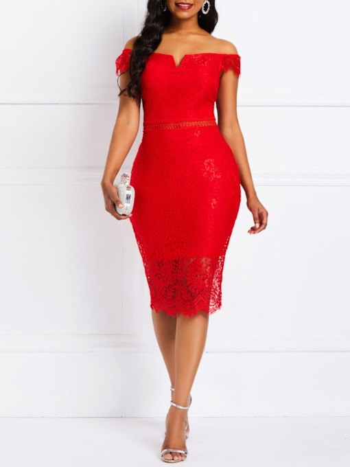 Lace Short Sleeve Party/Cocktail Women's Bodycon Dress