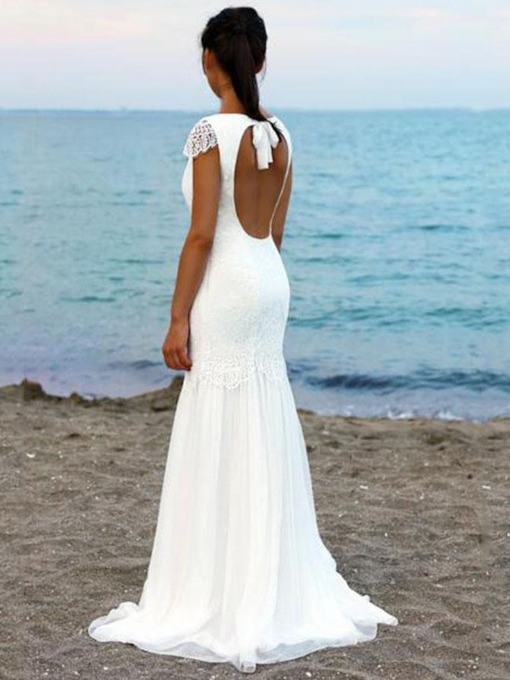 Cap Sleeves Backless Lace Beach Wedding Dress