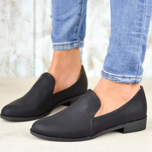 Slip-On Round Toe Block Heel Plain Flats