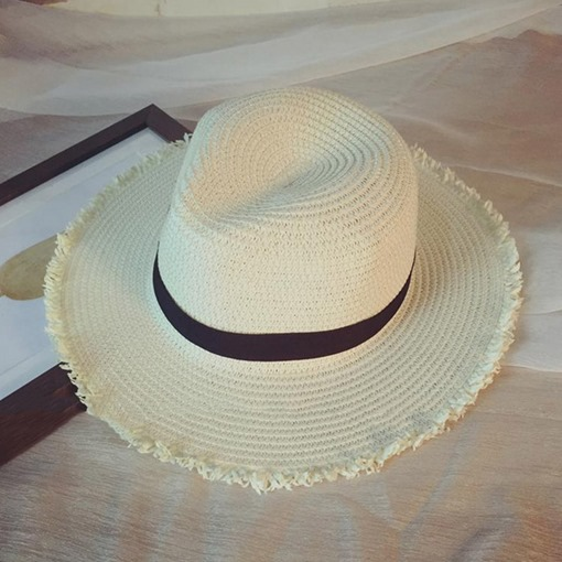 Solid Color Straw Plaited Article Summer Beach Hat