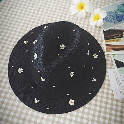 Elegant Daisy Decorated Pearl Beading Straw Hat