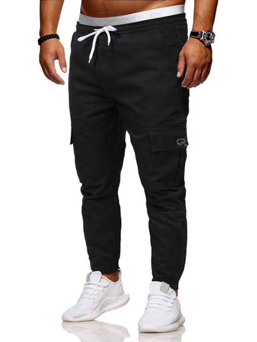 Pencil Pants Plain Pocket Casual Men's Casual Pants