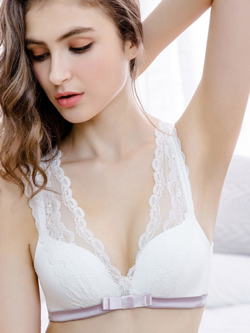 Plain Lace Sexy Adjusted-Straps Women's Bra