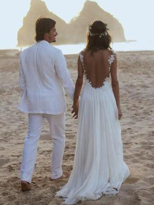 Straps Backless Appliques Beach Wedding Dress