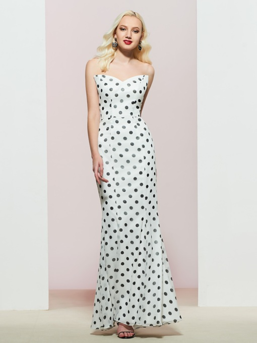 Mermaid Sweetheart Polka Dots Evening Dress 2019