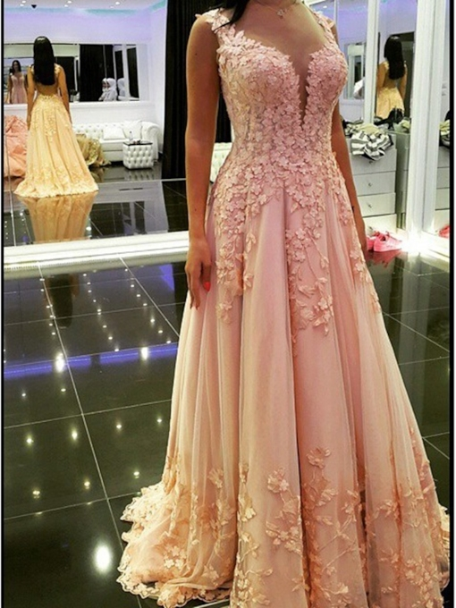 Appliques A-Line Sleeveless Straps Prom Dress