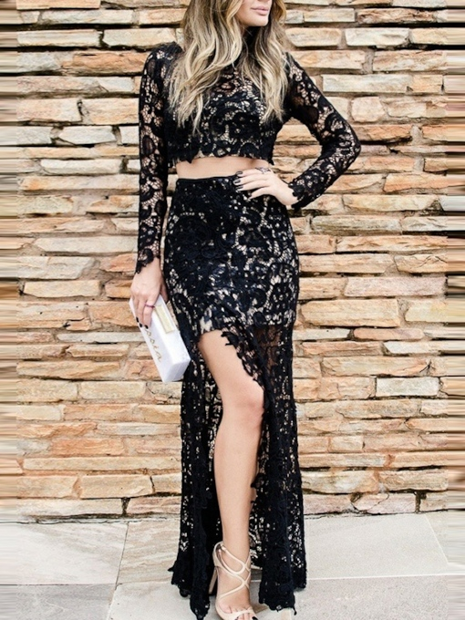 Lace Floor-Length Sheath Scoop Evening Dress