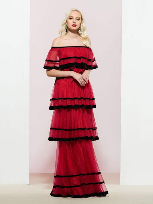 Tiered Off-The-Shoulder Lace Prom Dress 2019