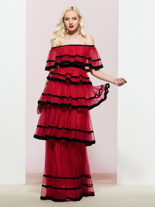 Tiered Off-The-Shoulder Sleeveless Floor-Length Prom Dress 2019