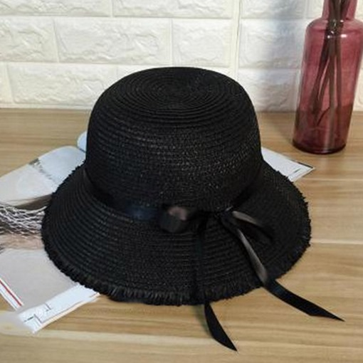 Bowknot Embellished Straw Plaited Article Sun Hat ba5cd4be7c24