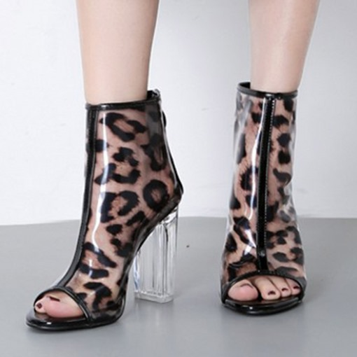 Animal Print Chunky Heel Open Toe Back Zip See-Through Ankle Boots