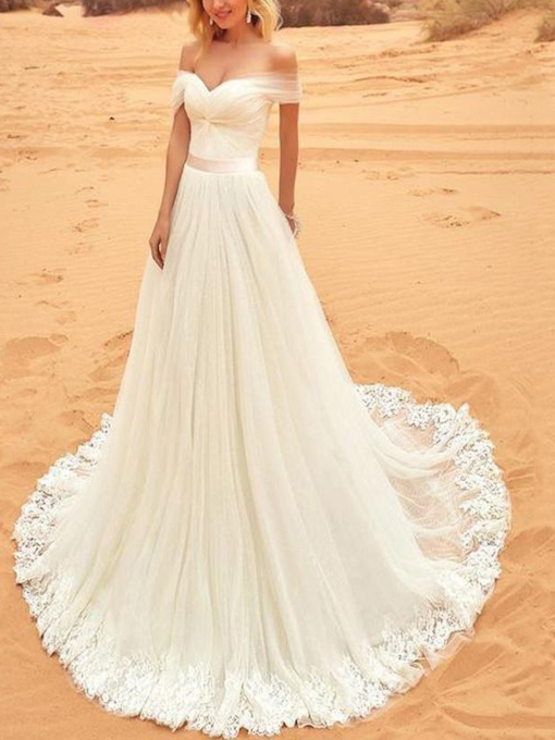 Off the Shoulder Appliques Country Wedding Dress 2019